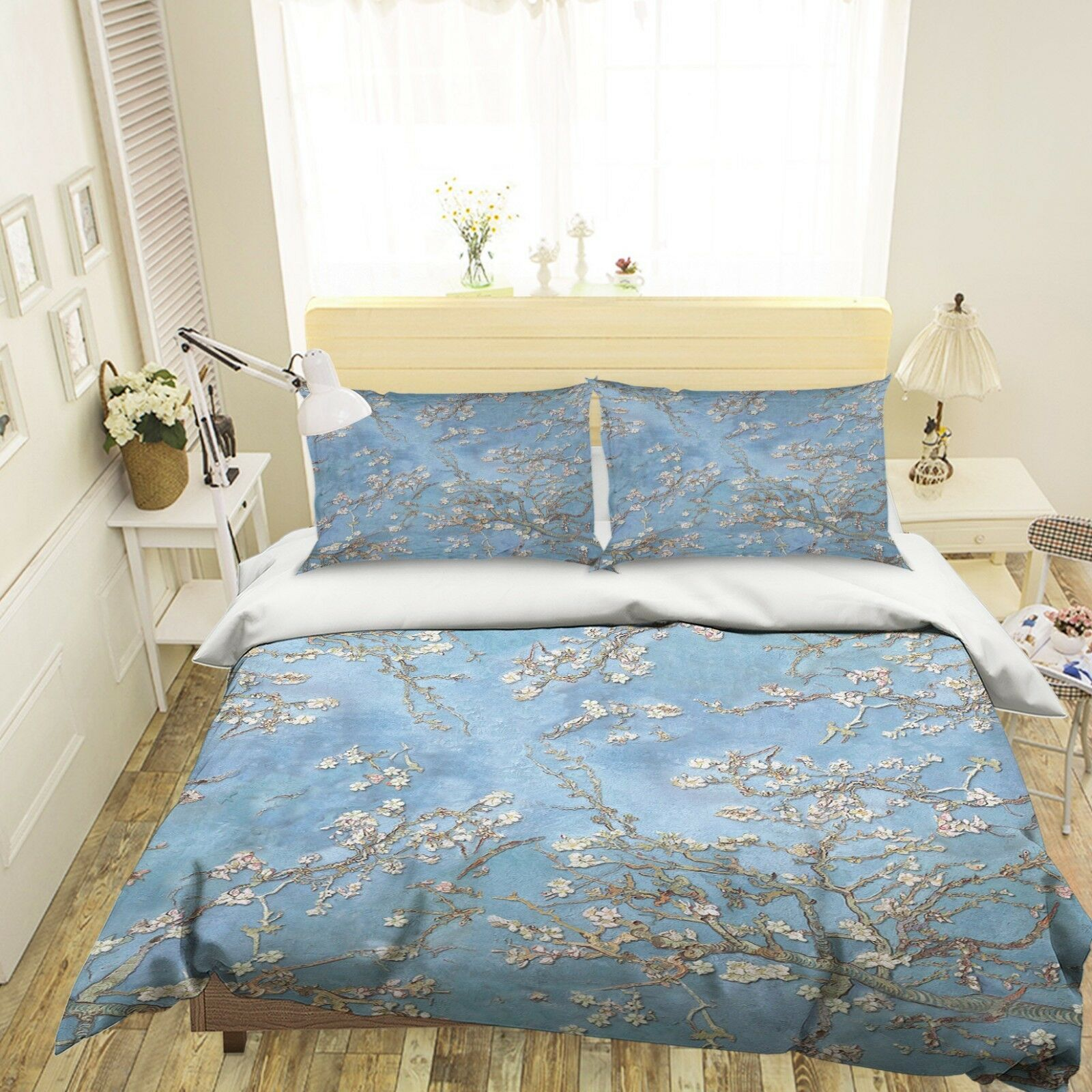 3D Blaumen Baum Himmel 6 Bett Kissenbezüge steppen Duvet Decken Set Single DE