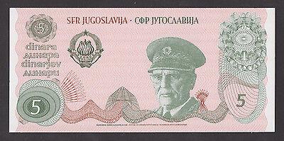 YUGOSLAVIA  5 Dinara ND1980 UNC  PNL  PROOF UNACCEPTED BANKNOTE  J B TITO