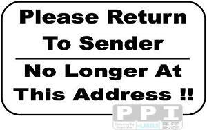 90 x black return to sender no longer at this address labels useful