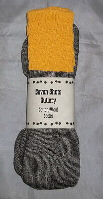 100/% Cotton//Wool Socks NEW Civil War Sale Grey with Yellow Top and Stripe