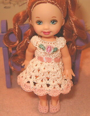 Dress  set for Kelly size doll White with Pink Trim Handmade Crochet