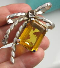 Estate Adele Simpson Signed 1940 Sterling Silver Rhinestone Topaz Brooch Pendant