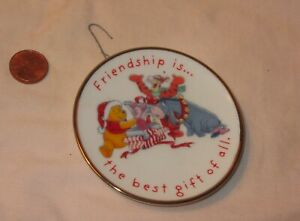 """Winnie The Pooh """"Friendship Is The Best Gift Of All"""" Ceramic Dish Ornament"""