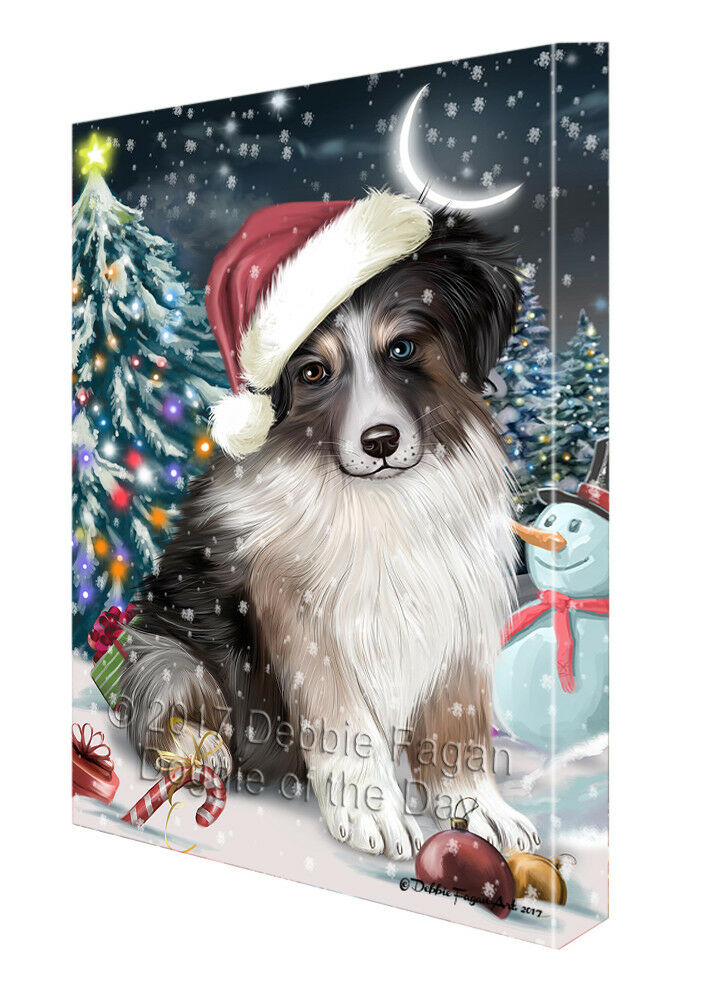 Holly Jolly Christmas Australian Shepherd Dog in Holiday Canvas Wall Art T02