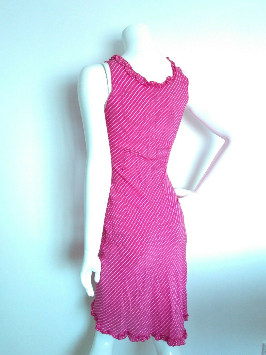 Designer LK BENNET slip-on Silk dress dress dress size S --USED ONCE--100%Silk pink polkadot c85eb9