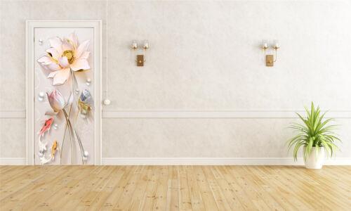 Lotus Squid Pattern 3D Self-adhesive Door Sticker Room Mural Decal Wallpaper