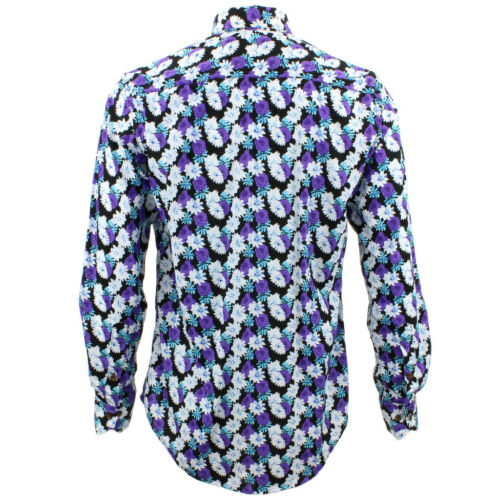 Funky Party Floral Mens Loud Rᄄᆭtro Pourpre Psychᄄᆭdᄄᆭlique Fit Sur Shirt Mesure tQCrhsd