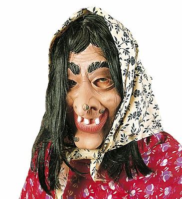 Maschera Befana con Foulard Travestimento Donna Epifania Carnevale Strega Nuovo