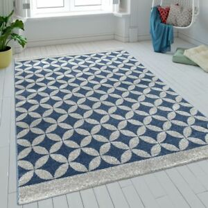Tapis Salon Poils Ras Cercles Batik Bleu Gris Moderne Aspect Retro