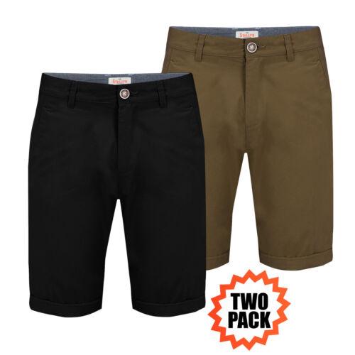 Pantaloncini Chino Da Uomo Stallion Estate Casual Cotone Twill Cargo Pantalone a metà NUOVO CONFEZIONE DA 2