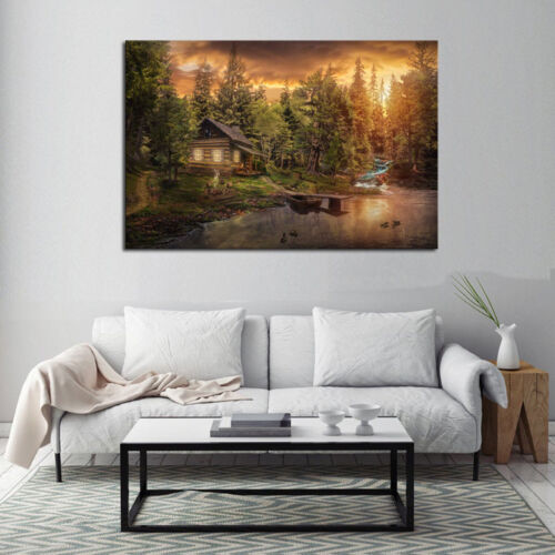 Multi Panel Print Cabin in the Woods Canvas Wall Art Mountain Creek Lake 5 Piece