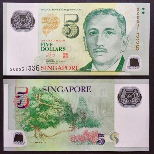 2007 SINGAPORE 5 DOLLARS POLYMER P-47a UNC/>W//NO SYMBOL GARDEN CITY GOH CHOK TONG