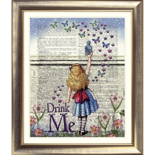 ART PRINT ON ANTIQUE BOOK PAGE Vintage Alice in Wonderland Dictionary quote gift
