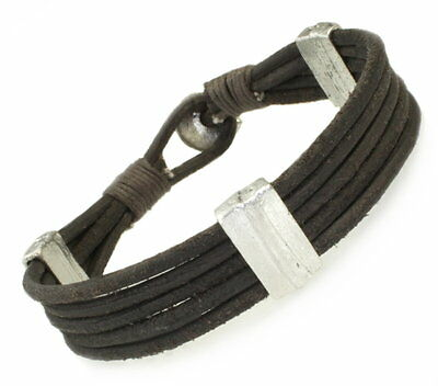 A214 Herren Armband Echt Leder Biker Rock Surfer Leather Bracelet Men nickelfrei