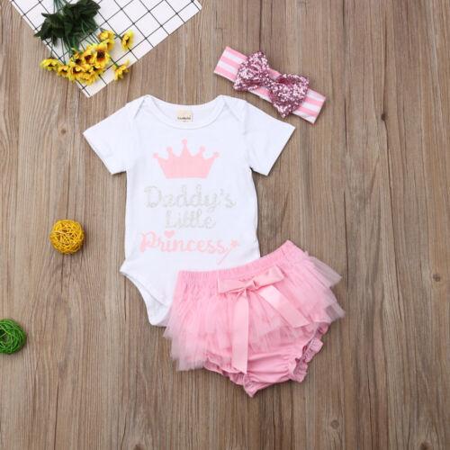 UK 3PCS Infant Baby Girl Clothes Short Sleeve Tops Romper+Tutu Shorts Outfit Set