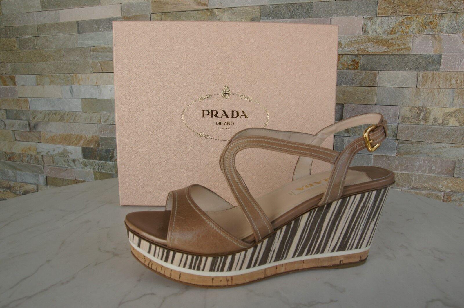 Luxury PRADA Dimensione 40  Piattaforma Sandals scarpe Cammeo Beige NUOVO  marche online vendita a basso costo