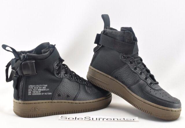 58443cbfd2f1a3 WMNS Nike SF Af1 Mid Special Field Black Dark Hazel Women Air Force ...