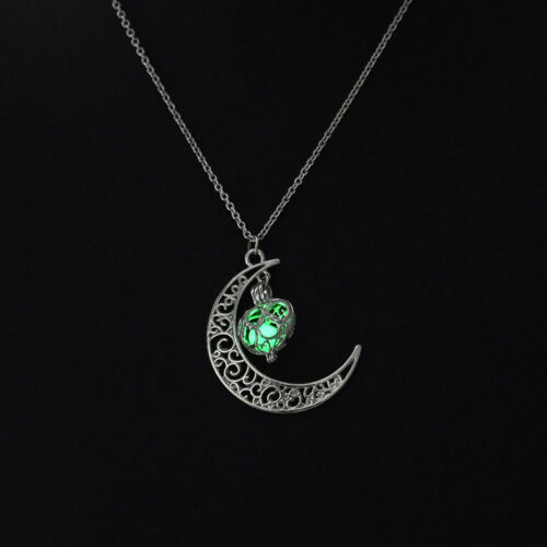 White to Green Glow in the Dark Crescent Moon Pinecone Pendant Pine Cone Necklace