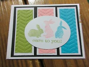 Stampin Up Handmade Easter Greeting Card Ears to you bunnies