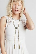Free People Jewelry Statement Stone Tassel Bolo Chain Fringe Necklace