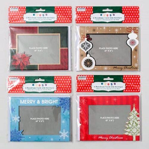 """Lot de 6 Cadre Photo Noël Cartes Enveloppes 4/""""X6/"""" Photo Vacances Carte de vœux"""