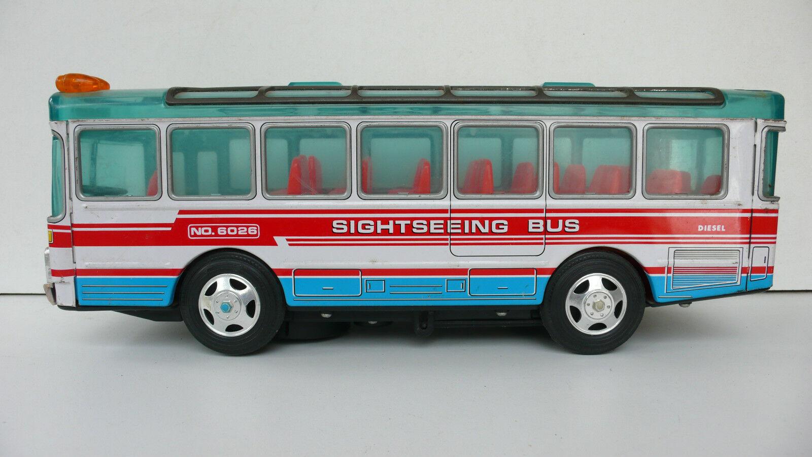 AUTOCAR    SIGHTSEEING BUS MADE IN JAPAN    MÉTAL  Lg 35 cm   BON ÉTAT FONCTIONNE 8fb398
