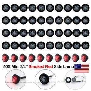 50X-3-4-034-Black-Smoked-Red-LED-Clerance-Marker-Bullet-Light-Lamp-Truck-Trailer-US