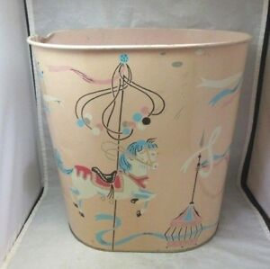 Vintage-Harvell-tin-litho-Carousel-horse-trash-can-Baby-room