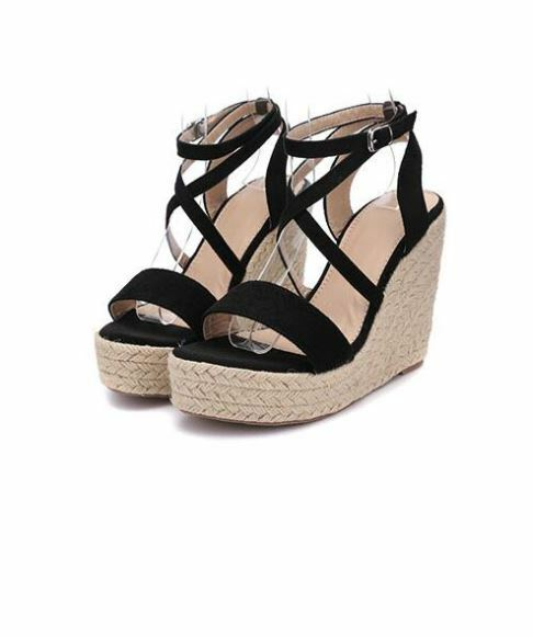 Sandals elegant heel wedge comfortable 11 cm black rope like leather 9675