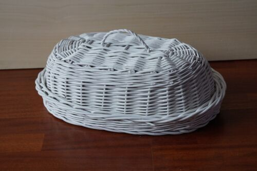 Flechtweide Brot korb b Früchte picknick aufbewahrungs körbe tablett Teller Weiß