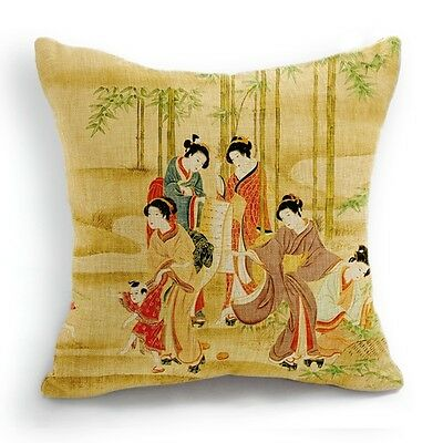 Retro Style Five Japanese Woman Kid Kimono Pillow Case Cushion Cover 18''