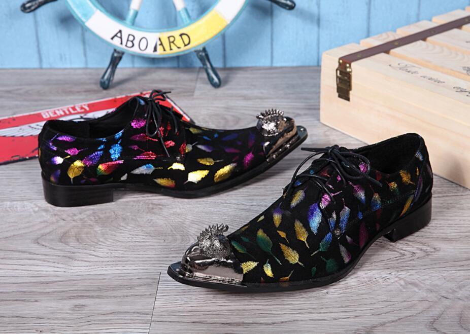 Uomo Punk Pointy Metal Toe Lace Up Colorful Pelle Pelle Pelle Dress Formal Nightlub Shoes 116d10