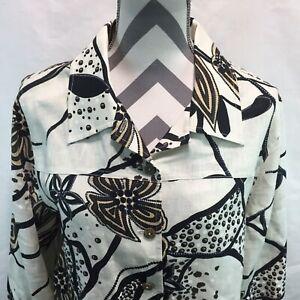 Softwear by Mark Singer Button Front Blouse Linen Floral Brown Beige XL MM18