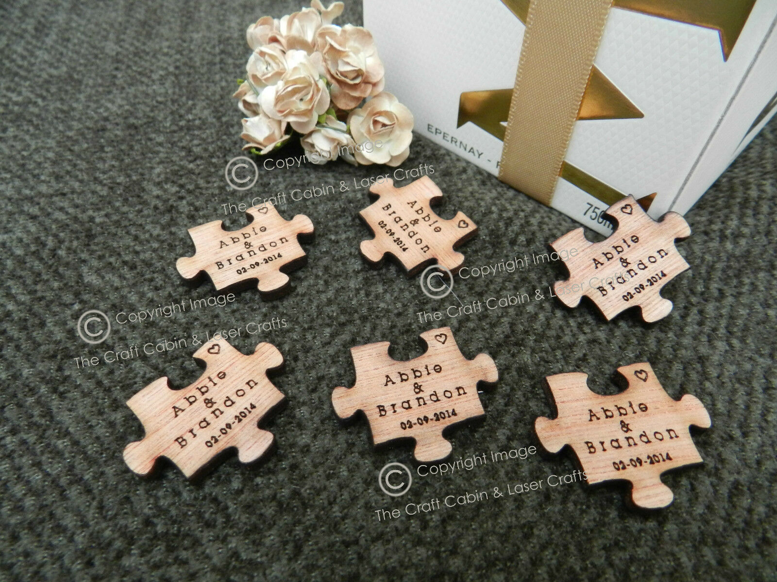 Personalised Wood Puzzle Pieces, Favours, Table Decorations, Vintage Wedding