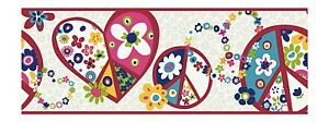 Retro-Love-amp-Peace-Signs-in-Red-and-Pink-York-Wallpaper-Border-PW3920B