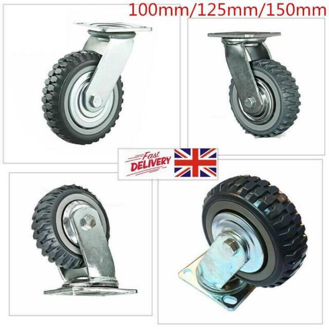 150mm Rubber Swivel With Brake Castor Wheels Trolley Caster