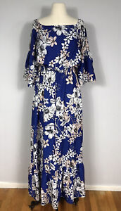 Eliza J Blue and Pink Floral Print 3/4 Sleeve Off Shoulder Maxi Dress Women's 6