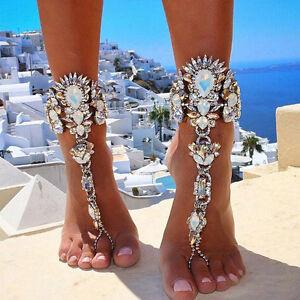 Sexy Crystal Rhinestone Foot Chain Anklet Bracelet Barefoot Sandal ...