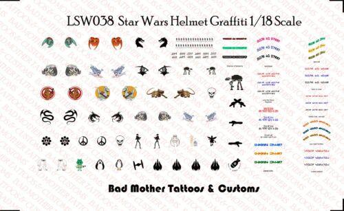 1//18 Scale Star Wars Clone ou Storm Trooper Casque Graffiti Waterslide Decals