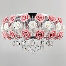 Girl,Kid,Teen Room Crystal Flower Pink Chandelier Light Pendant Lighting Fixture