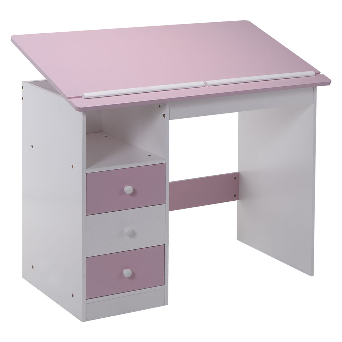 S Pink Desk Kids Student Drawing Table Simple Modern Homework Study Office