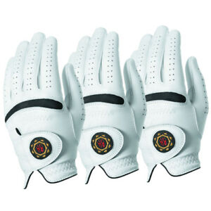 Ben-Hogan-Legend-Men-039-s-Leather-Golf-Gloves-White-3-PACK-Pick-Size