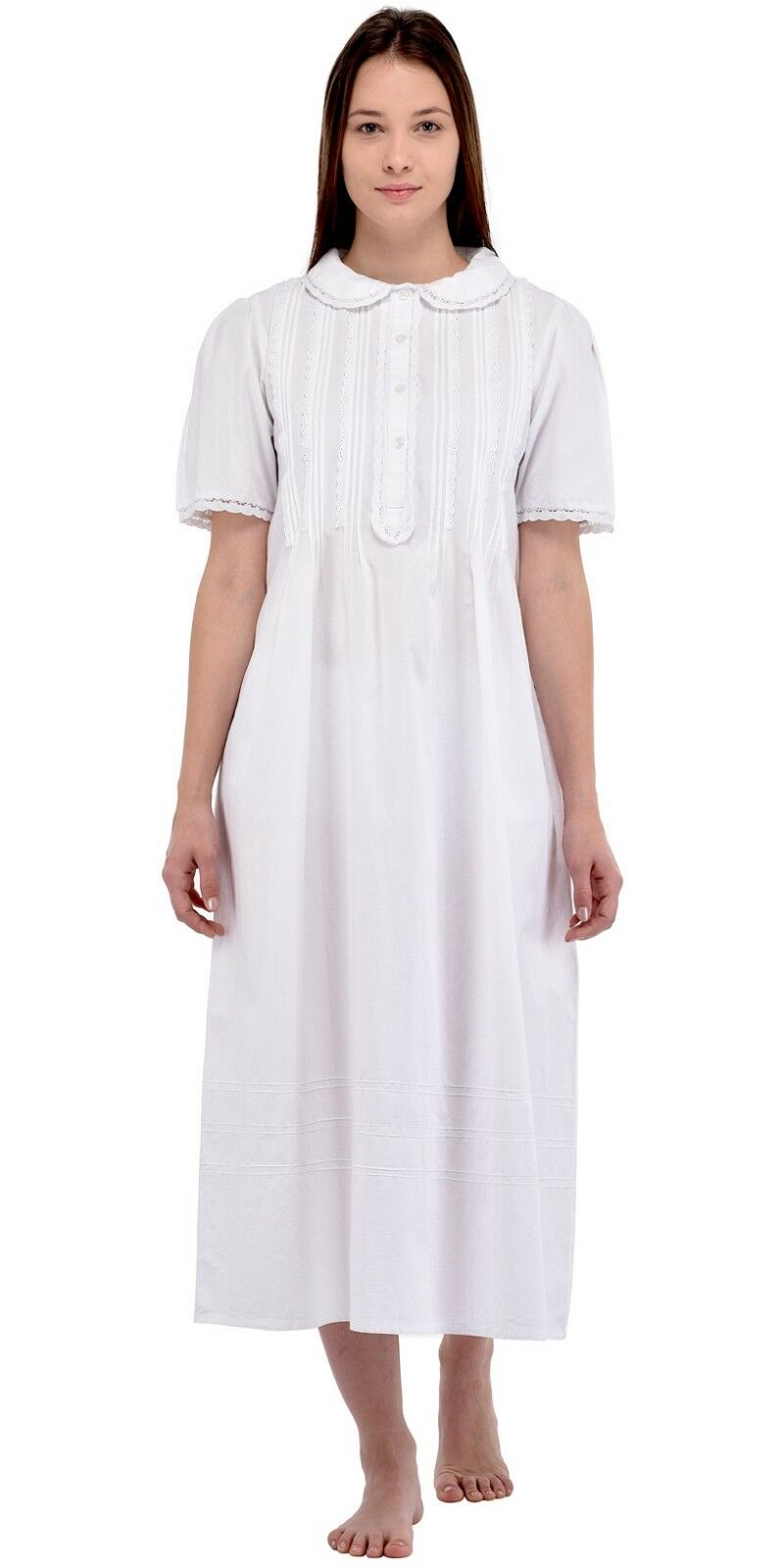 White Cotton Classic Peter Pan Collar Nightdress   Cotton Lane