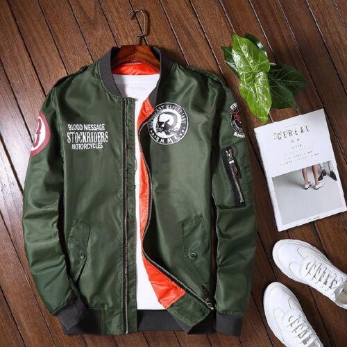 Giacca Uomo Air MA1 dell/'esercito Volo Bomber Jacket Coat Stampa Teschio Testa Outwear