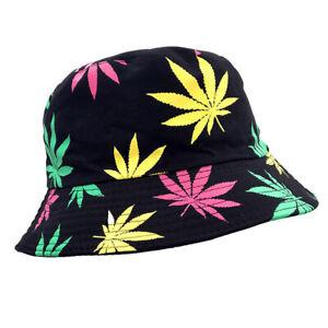 Mens Women Weed Leaf Hiphop Bucket Hats Cap Outdoor Visor Fisherman Hat Foldable