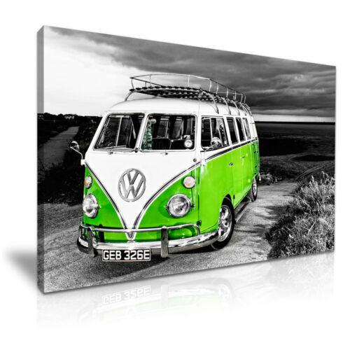 Green VW Camper Van Vintage Campervan Canvas Wall Art Picture Print 76x50cm