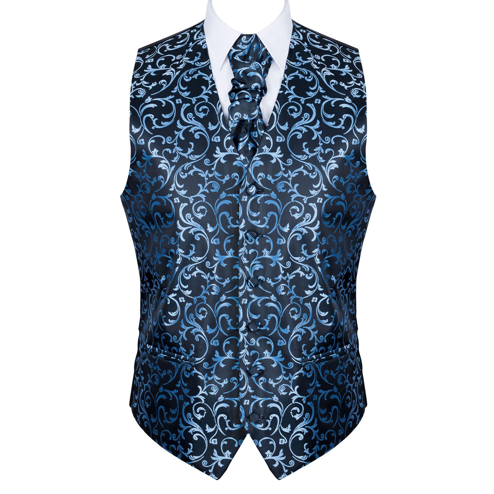 UK Men's Morning Blue on Black Wedding Waistcoat Swirl Leaf 6 Button Jacquard Su