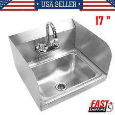 17commercial Hand Sink Stainless Steel Wall Mounted Washing Sinkside Splashes