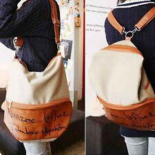 Women Canvas Leather Handbag Backpack Rucksack School Bag Shoulder Crossbody Bag