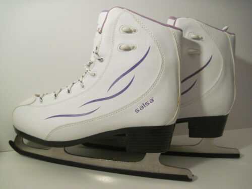Very Nice TUV Rhineland GERMAN BLADE! White Leather SALSA Ice Skates WOMEN Sz 9